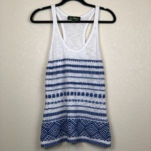 Sam Edelman Blue & White Embroidered Tank Top